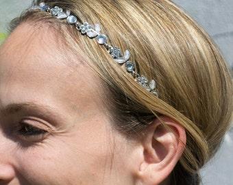 Flower Headband Crystal Hair Band Silver Head Band Bridesmaid Hair Accessory Diamante Hairband Rhinestone Hair Jewelry Hair Jewellery