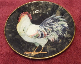 Chicken Plate, Hand Painted Plate, Home Decor,
