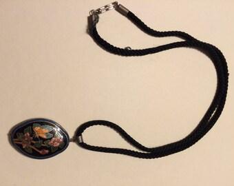 Vintage black butterfly necklace