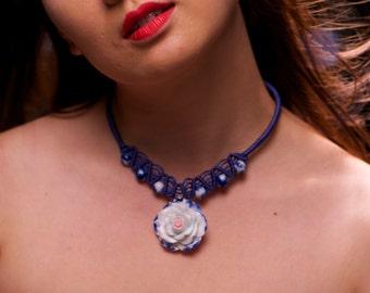 30% SALE Chinese rose necklace flower china necklace porcelain flower china blue Macramé band rose china necklace white flower china necklac