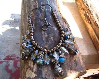 Crystal and Metal Fringe Necklace
