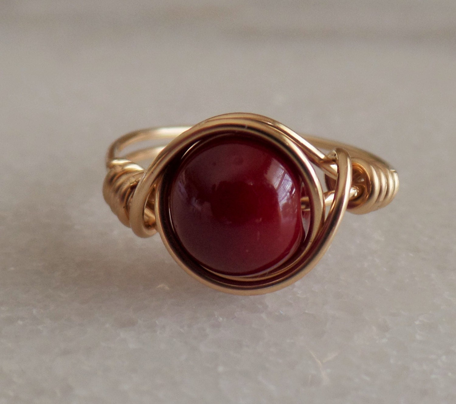 agate gemstone wire wrapped ring 14k gold by grannysrockbox