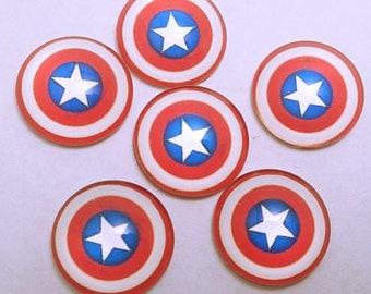 9 PC Captain America Super Hero Comic Movie Popular Inspired Glass Resin Flat backs  247403