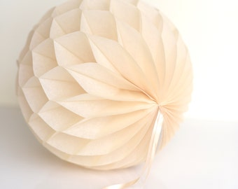 Beige Tissue paper honeycombs -  hanging wedding party decorations