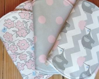 Organic Burp cloth-girl burp cloth-baby gift-Organic burp cloth set-Organic Elephant burp cloth-pink burp cloth-baby shower gift