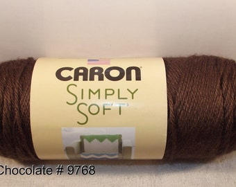 Caron Simply Soft Dark Chocolate Acrylic Yarn, Dark Brown Soft Yarn, Dark Brown Yarn, Caron Dark Chocolate Yarn, 3 Pack Yarn, Brown Yarn