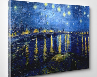 "Vincent van Gogh, ""Starry Night Over the Rhone"", 16"" x 24"" Canvas Gallery Wrap Print"