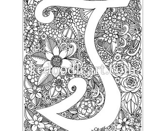 instant digital download - adult coloring page - letter T