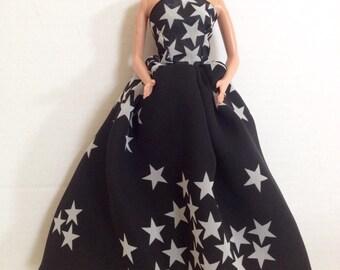 Starry Black & White Barbie Doll Dress