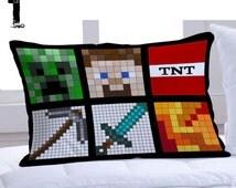 custom pillow - pillow case - All Minecraft Quilt Face - Minecraft creeper    pillow custom
