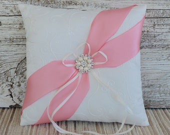 Wedding Ring Bearer Pillow, Ivory/White Wedding Ring Pillow- Pink, Pearl Rhinestone Accent