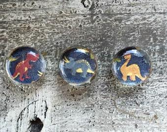 Handmade Glass Magnets//set of three//dinosaurs