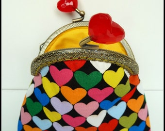 Valentine gift, heart framed coin purse, small change purse, gift for her
