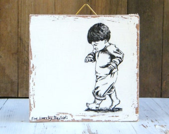 Miniature painting - Baby boy gift, print on wood, Black and white nursery decor, Wood signs, Kids room decor, Mothers day gift