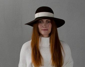 Chocolate wide brim floppy hat / brown floppy felted hat