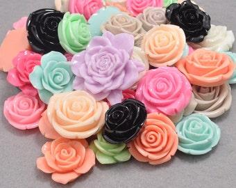 30pcs Large Resin Rose Cabochon / Mixed Colors / Resin Cabochons