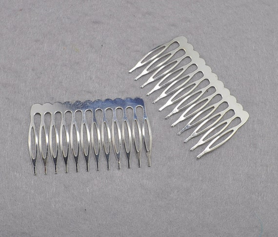 Silver plated metal comb 10pcs metal hair combs 12 teeth for Metal hair combs for crafts