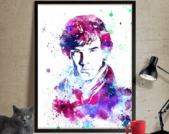 Sherlock Holmes Poster Watercolor Art, Celebrity Portraits, Watercolour Painting Print , Wall Art Decor, Watercolor Painting, Art Print(13)