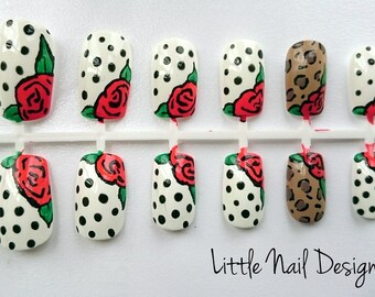 Rockabilly pin up vintage hand painted false nails
