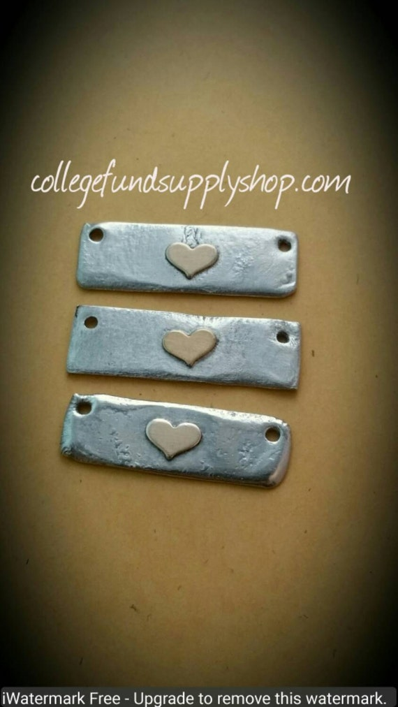 RUSTIC Pewter Bar with BRASS Heart accent, OOAK jewelry supply, copper heart, bar blanks for hand stamped necklace, one of a kind