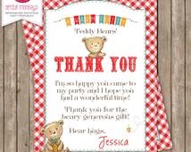 Printable Teddy Bear's Picnic Thank You Card