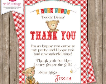 Personalised Teddy Bear's Picnic Thank You Card - DIY Printable