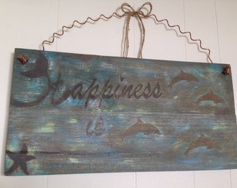 Nautical Sign Home Decor with Happiness is Dolphins and Reclaimed Copper