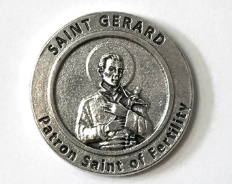 Saint Gerard Silver Italian Medal Pocket Coin Token with Prayer Made in Italy Patron of Fertility