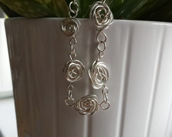 Wire wrapped rose bracelet FREE matching earrings, silver plated