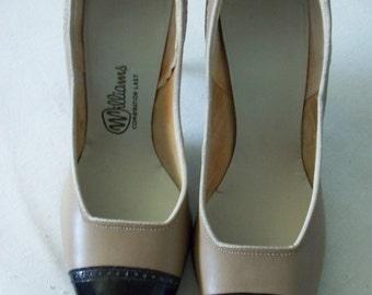 "1960's Spectator High Heels Size 6 1/2M  3 1/2"" Heels Tan & Black"