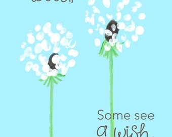 """Wish Flower 12""""x16"""" Canvas - """"Some see a weed, Some see a wish."""""""