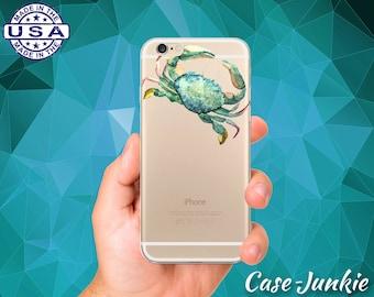 Crab Watercolor Animal Art Green Blue Tumblr Clear Case iPhone 5 iPhone 5C iPhone 6 iPhone 6+ iPhone 6s iPhone 6s Plus iPhone SE iPhone 7