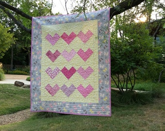 Baby Quilt - Hearts and Butterflies Quilt - Baby Girl Quilt