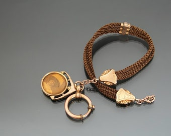 Victorian Mourning Woven Human Hair Pocket Watch Chain. Hairwork Rose Gold Plated Photo Pendant
