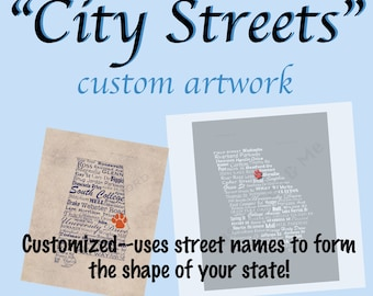 Custom City Streets Art, City of Choice, Choose State or Country, Digital Art Print, Customize, Wall Art, Printable Art, Digital Print