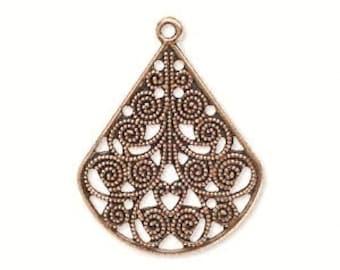 Antiqued Copper Teardrop, filigree teardrop, Tribal Pendant, 26x23mm, 4 each, D283