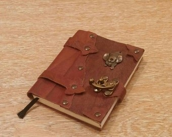 Leather Journal, Notebook or Diary with Puppy - OOAK