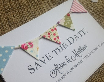 Fabric Bunting Save the Date - Fabric Bunting Wedding Invitation - Shabby Chic Invite, Rustic Wedding Invite