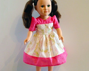 "American Girl Doll & Other 18"" Dolls' Dress with Bright Pink Border w Soft Green Spring Time Print; School or Dress Up Doll Clothes."