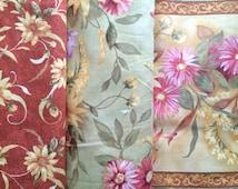 Green & gold fabric bundle, fall floral fabric, fat quarter set gold harvest fabric, pillow panel fabric quilt bundle, cotton fabric yardage