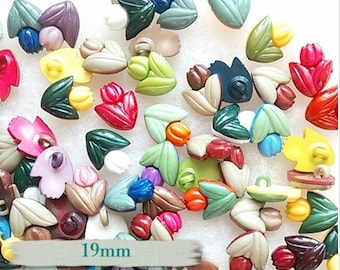 Buttons, 19mm, 25 or 50 buttons, Tulip, plastic, colors mixtes, vintage,