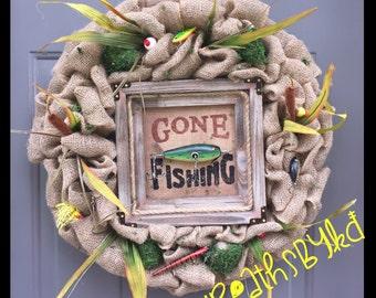 Gone Fishing Burlap Wreath