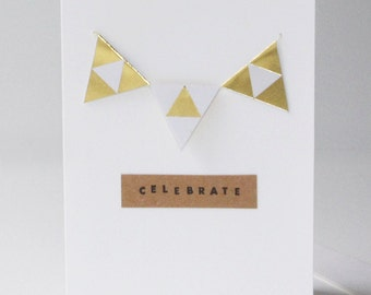 Gold Bunting Flags Birthday Card