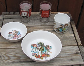 Raggedy Ann and Andy Dishware Glass Set Vintage