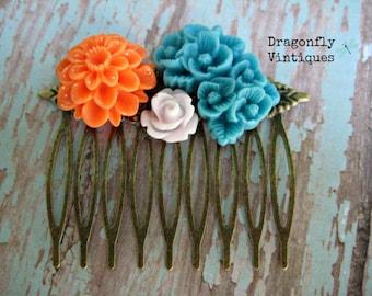 Floral Hair Comb, Orange, White, Blue