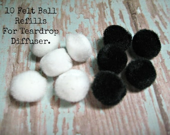 Felt Ball Refills (10) for Teardrop Style Diffuser Necklace