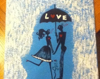 Silhouette, lovers, in love, rain, together forever