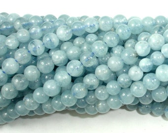 Genuine Aquamarine Beads, Round, 4mm , 15.5 Inch, Full strand, Approx 98-110 beads, Hole 0.5 mm, A quality (123054016)