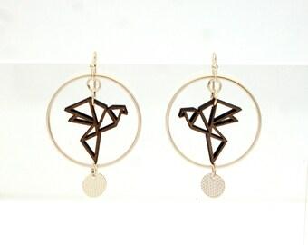 Earrings silver 925 wooden ORIGAMI