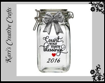 Delux Blessings Jar, Count your Blessings Jar, Gratitude Jar, New Year's Jar, Family Jar, Accomplishments Jar, Family Tradition
